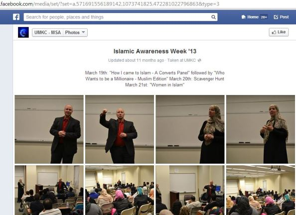 Isa Hodge speaks to college students at UMKC Islamic Awareness Week 2013 about how he came to Islam.