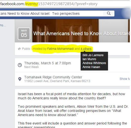 Facebook screencapture shows Fatima Mohammadi created the CJME event, along with the others listed.