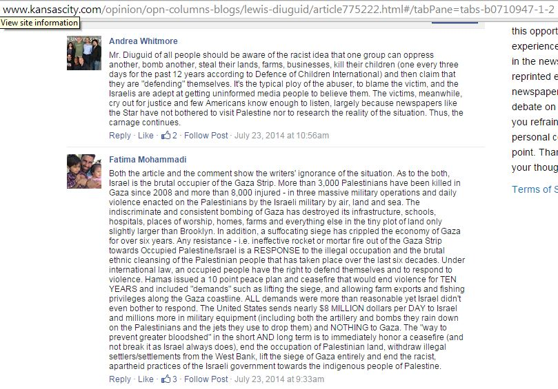 Fatima Mohammadi comments on KC Star article regarding her protest 2