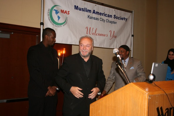 Jomana Qaddour pictured to the far right with George Galloway at the Muslim American Society event at the Marriot.