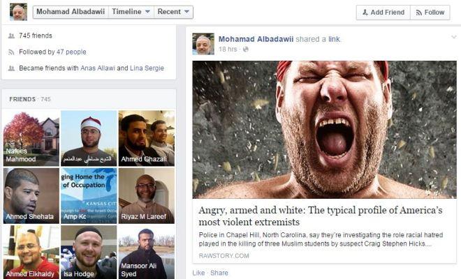 Feb. 2015 post to facebook shows Mr. Albadawi has some very hateful feelings toward white dudes..... eeks