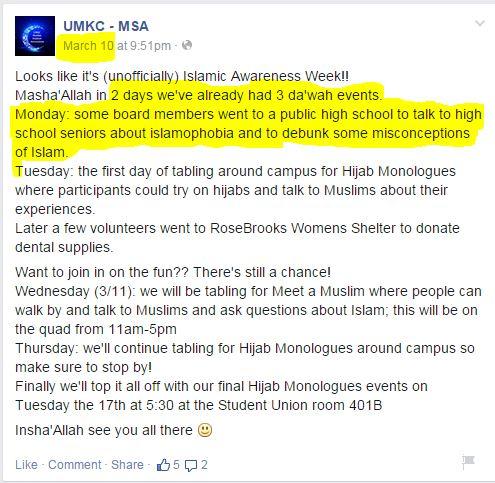 UMKC MSA going to public schools facebook comment