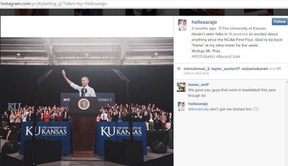 UMKC MSA  Sara Jawhari KU takes picture of Obama