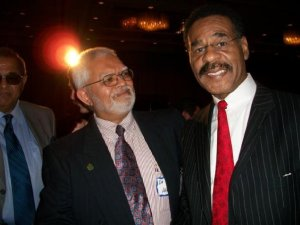Congressman Emanuel Cleaver is always ready to hit his knees for Allah, seen pictured here with Abdul Akram and Nafees Mahmood.