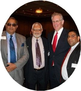 Abdul Akram with Missouri Governor Jay Nixon. MD Alam is pictured right, and former Lt. Col. Nafees Mahmood of Pakistan Army pictured left. INFLUENCE Operations in action by the Missouri Democrat Asian American Caucus. (MDPAAC)