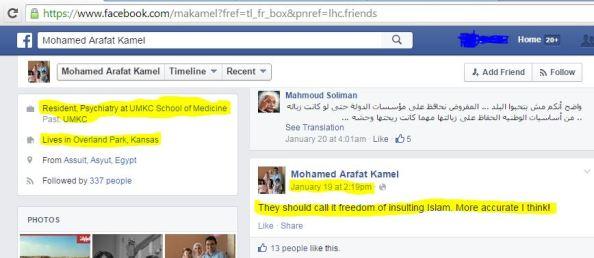 UMKC Mohamed Arafat Kamel CHARLIE HEBDO 1