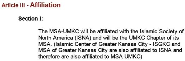 UMKC MSA 2001 Constitution Affiliation with ISGKC and ISNA