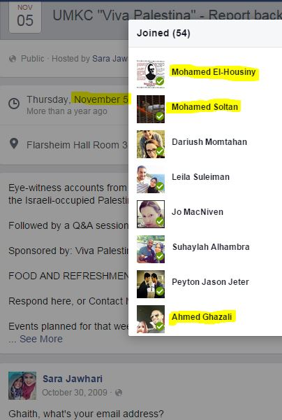Screen Capture from UMKC Report Back from Palestine - Nov 5, 2009 - Event page still live as of 5/31/2015 - Event hosted by Sara Jawhari