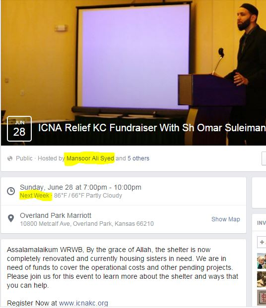 ICNA KC fundraiser hosted by Mansoor Ali Syed with Sheikh Omar Sulleiman June 2015