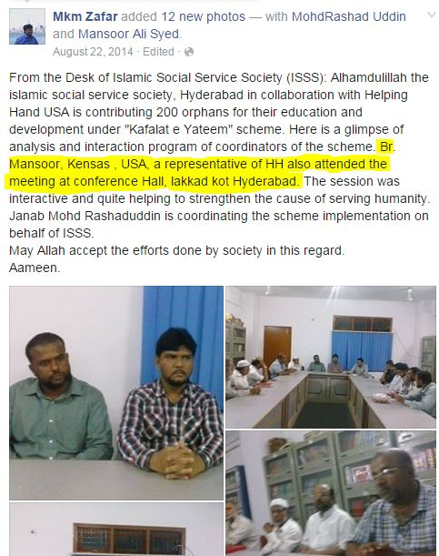 ICNA KC Mansoor Ali Syed in India with HELPING HANDS USA