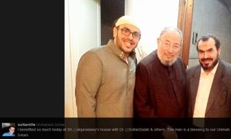 Mohamed Soltan with Qaradawi and his father Salah Soltan