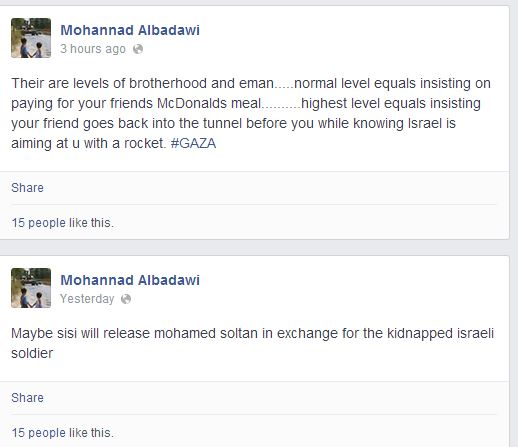 Mohannad Albadawi comment going back into tunnel HAMAS Sisi Release Soltan